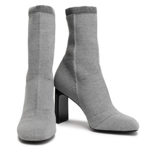 RAG & BONE Ellis Stretch-knit Sock Boots Gray 10